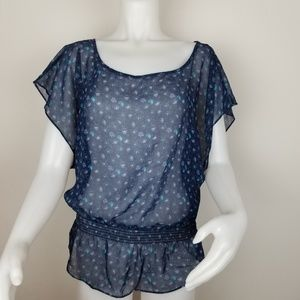 American Eagle Outfitters XS Sheer Floral Blouse